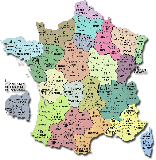 carte france departement